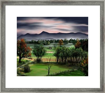 Mountain Valley Framed Print by Ron Grafe