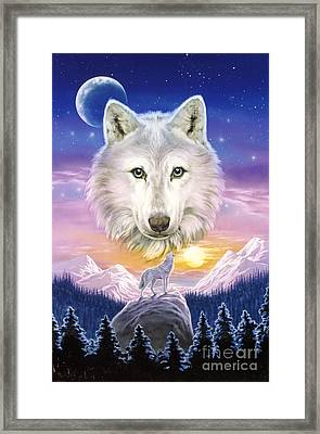 Mountain Wolf Framed Print by Robin Koni