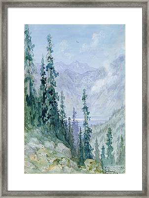 Mountainous Landscape Framed Print by Gustave Dore