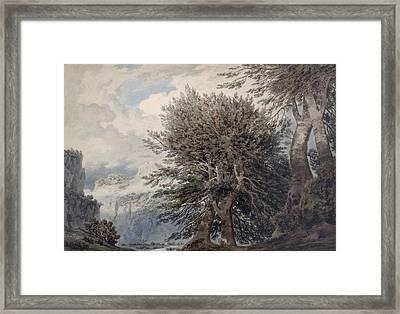Mountainous Landscape With Beech Trees Framed Print by John Robert Cozens