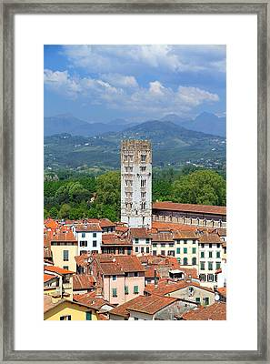 Mountains And City Framed Print by Valentino Visentini