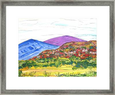 Mountains And South Mesa Framed Print by Kerry Bennett