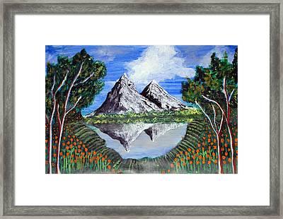 Mountains On A Lake Framed Print by Saranya Haridasan