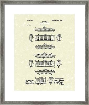 Mouth Harmonica 1900 Patent Art Framed Print by Prior Art Design