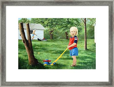 Mowing Framed Print by AnnaJo Vahle
