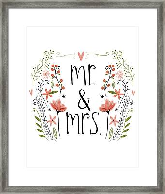 Mr. & Mrs Framed Print by Katie Doucette