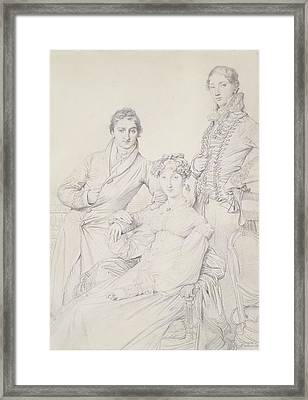Mr. And Mrs. Woodhead With Rev. Henry Framed Print by Jean Auguste Dominique Ingres