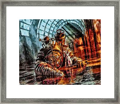 Mr. Bubbles Please Get Up Framed Print by Joe Misrasi