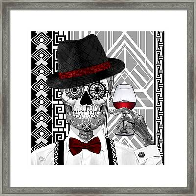 Mr. J.d. Vanderbone - Day Of The Dead 1920's Sugar Skull - Copyrighted Framed Print by Christopher Beikmann