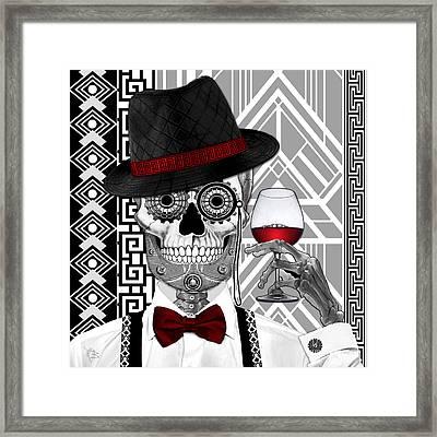 Mr. J.d. Vanderbone - Day Of The Dead 1920's Sugar Skull - Copyrighted Framed Print by Christopher Beikmann