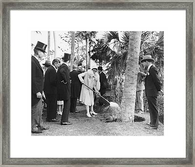 Mrs. Calvin Coolidge Planting Framed Print by Underwood Archives