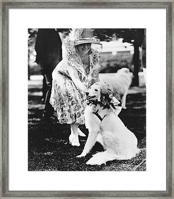 Mrs. Coolidge And Her Dog Framed Print by Underwood Archives