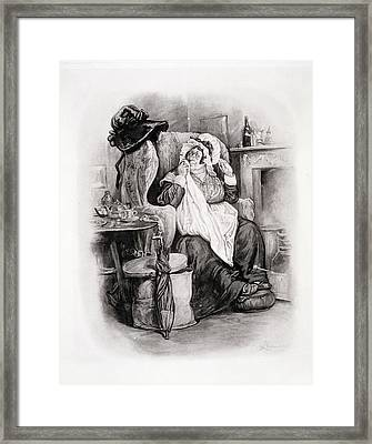 Mrs Gamp, From Charles Dickens A Gossip Framed Print by Frederick Barnard