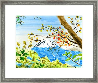 Mt Fuji From Koyodai In Autumn Framed Print by Beverly Claire Kaiya