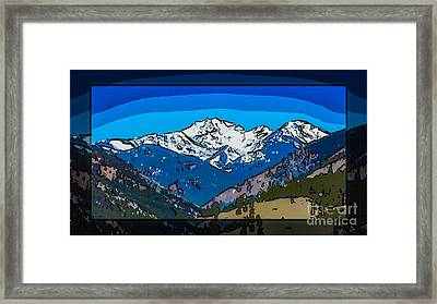 Mt Gardner In The Spring Abstract Painting  Framed Print by Omaste Witkowski