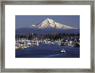 Hayden Island And Mt. Hood Framed Print by Patrick Campbell