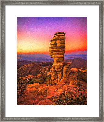 Mt. Lemmon Hoodoo Artistic Framed Print by Chris Bordeleau