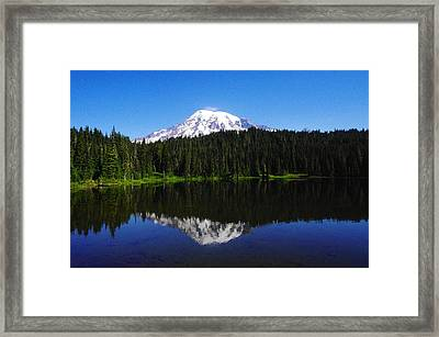 Mt Rainer In Reflection Lake Framed Print by Jeff Swan