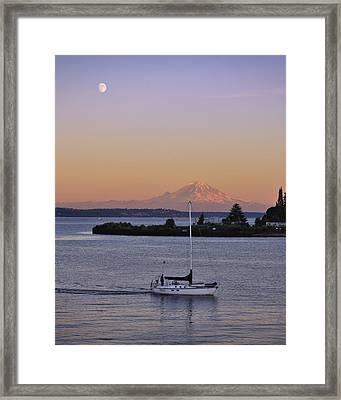 Mt. Rainier Afterglow Framed Print by Adam Romanowicz