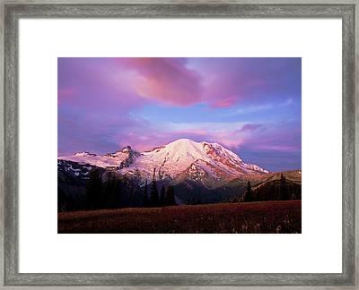 Mt. Ranier Dawn Framed Print by Randolph Fritz