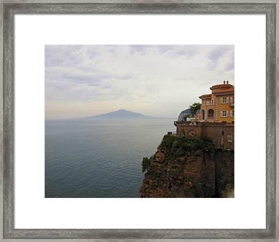 Mt Vesuvius From Sorrento At Dusk Framed Print by Marilyn Dunlap