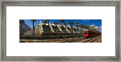 Mts Commuter Train Moving On Tracks Framed Print by Panoramic Images