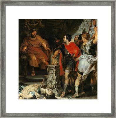 Mucius Scaevola Before Lars Porsena Framed Print by Rubens