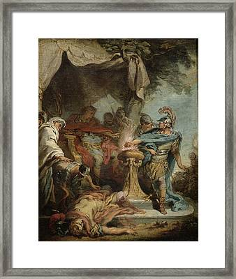 Mucius Scaevola Before Porsenna Oil On Canvas Framed Print by Francois Boucher