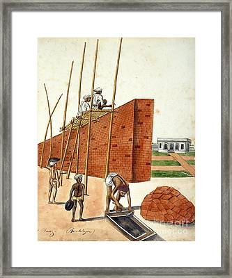 Mud Wall Construction In India, 1810s Framed Print by British Library