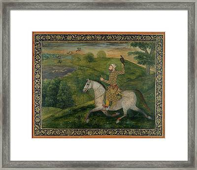 Mughal Nobleman Out Hawking Framed Print by British Library