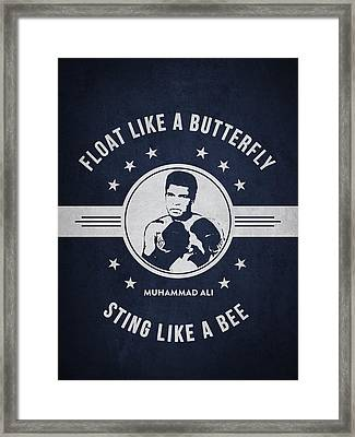 Muhammad Ali - Navy Blue Framed Print by Aged Pixel