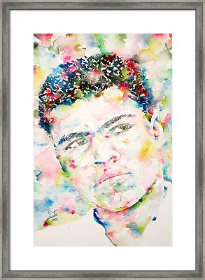 Muhammad Ali - Watercolor Portrait.1 Framed Print by Fabrizio Cassetta