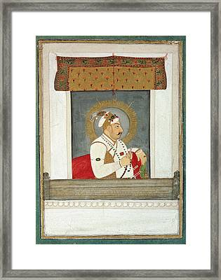 Muhammad Shah At A Window Framed Print by British Library