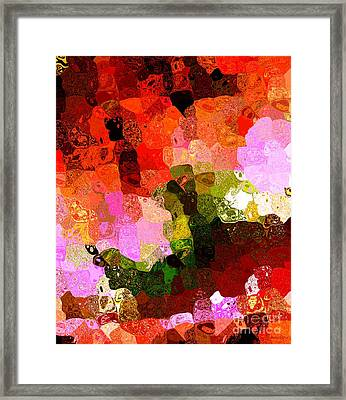 Multi Color Abstract Art Of Spots Framed Print by Mario Perez
