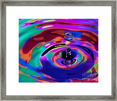 Multicolor Water Droplets 1 Framed Print by Imani  Morales