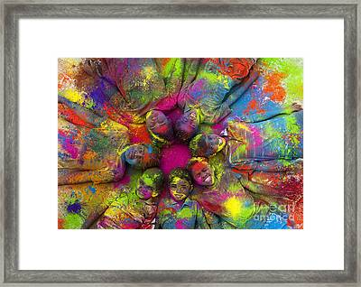Multicoloured Boys Framed Print by Tim Gainey