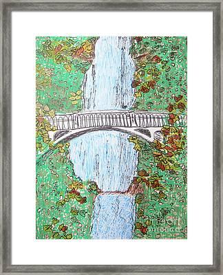 Multnomah Falls Framed Print by Marcia Weller-Wenbert