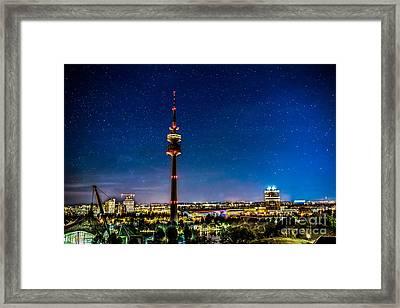 Munich City Nights - Olympiapark Framed Print by Hannes Cmarits