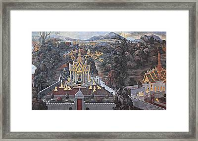 Mural - Grand Palace In Bangkok Thailand - 01132 Framed Print by DC Photographer