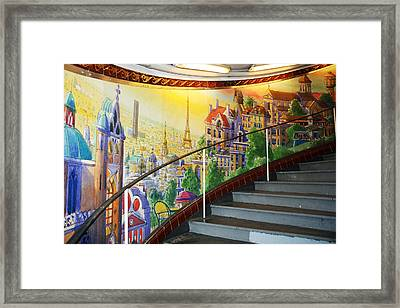 Mural In The Paris Metro Framed Print by Kathy Yates