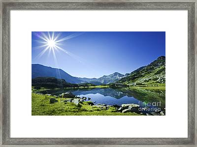 Muratov Lake Against Blue Sky Framed Print by Evgeny Kuklev