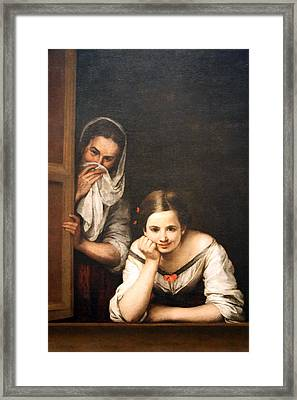 Murillo's Two Women At A Window Framed Print by Cora Wandel