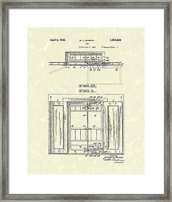 Murphy Bed 1932 Patent Art Framed Print by Prior Art Design