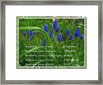 Muscari And Poem Framed Print by Barbara Griffin