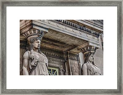 Museum Caryatids Framed Print by Mike Burgquist