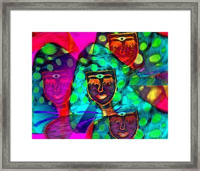 Mushroomlady In The Sun Happy Framed Print by Hanna Khash