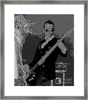 Bass Player Art Bw Framed Print by Lesa Fine