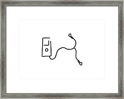 Music By Mp3 And Earphone Framed Print by Lineamentum