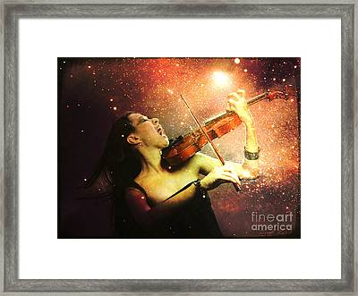 Music Explodes In The Night Framed Print by Linda Lees