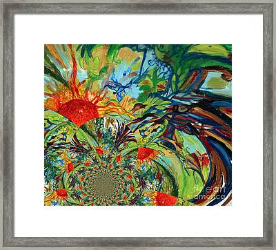 Music In Bird Of Tree Assymetrical Framed Print by Genevieve Esson